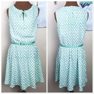 LC LAUREN CONRAD seafoam green dress, belt, print